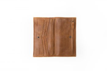 Ester camel leather tiny bag wallet phone case handmade in our store in Barcelona