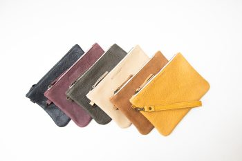 Sustainable leather clutch, collection, in Barcelona, BONENFANT atelier